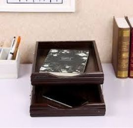 2 Step Wooden Letter Tray & Paper Organizer Tray For Offices - 7722-1.
