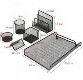 Desk Organizer Set Office Pen Holder Storage Drawer Mesh Tray Paper Sorter 6 Pcs