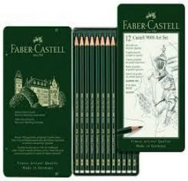 Faber Castell Pencils - Tin of 12 Castell 9000 Art Set Graphite Pencils