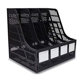 File Rack Holder, 4 Compartments Mesh Plastic