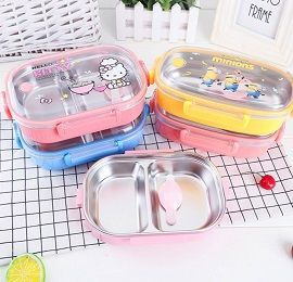 Food Grade Plastic + 2-Compartment 304 Stainless Steel Clip Lock Airtight Lunch Box