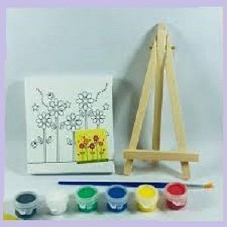Mini Canvas And Wood Easel Set For Art Painting Drawing