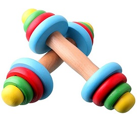 Child Baby Fitness Multi-colored Wooden Dumbbell Toy