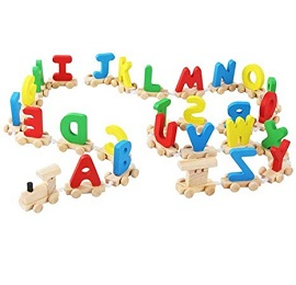 Wooden Alphabet Train Learning Educational Toys For Children Non Magnetic