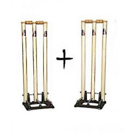 Wooden Cricket Wickets With Metal Base