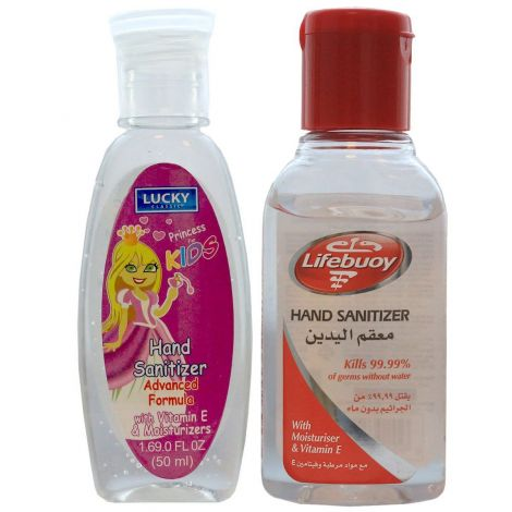 Pack of 2 Hand sanitizer lifebuoy+ lucky princess 50ml with vitamin E